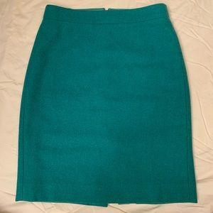 J.Crew Teal Wool Blend Pencil Skirt Size 00